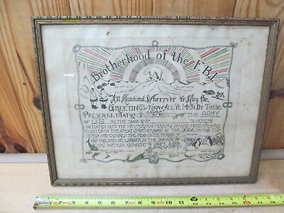 Antique Brotherhood of the F.B.I. Service Certificate Iceland WWII Army