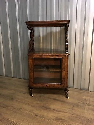 Late Victorian Walnut And Satinwood Music Cabinet With Brass Galleried Top
