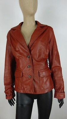 VERA PELLE LEATHER Cappotto Giubbotto Jacket Coat Giacca Tg 48 Donna Woman C