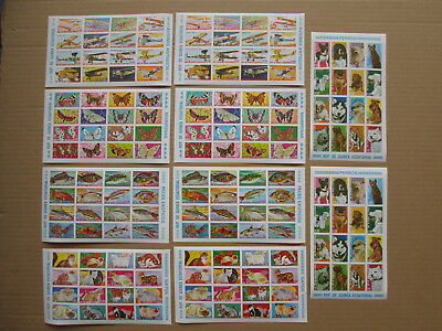 EQUATORIAL GUINEA 10 blocks stamps MNH imperf cat dog fish butterfly plane