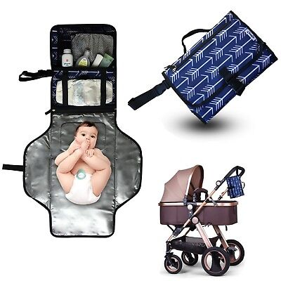 Diaper Clutch Portable Baby Changing Pad Station Travel Folding Diaper Mat Blue
