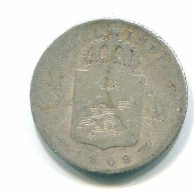 1909 Netherlands East Indies 1/4 Gulden Silver Colonial Coin Nl10535#4