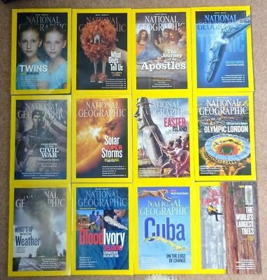 2012 National Geographic magazine bundle 12 issues plus 2 slipcases / holders