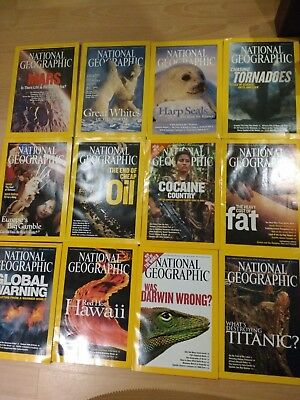 2004 National Geographic magazine bundle 12 issues plus 2 slipcases / holders