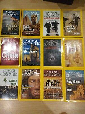2008 National Geographic magazine bundle 12 issues plus 2 slipcases / holders