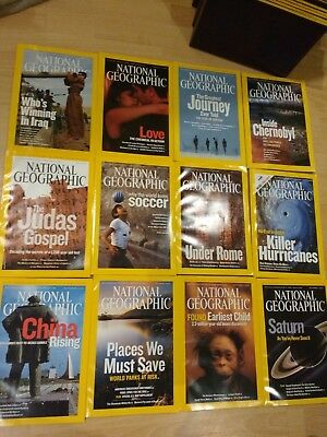 2006 National Geographic magazine bundle 12 issues plus 2 slipcases / holders