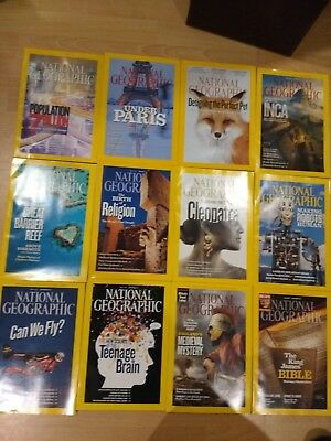 2011 National Geographic magazine bundle 12 issues plus 2 slipcases / holders