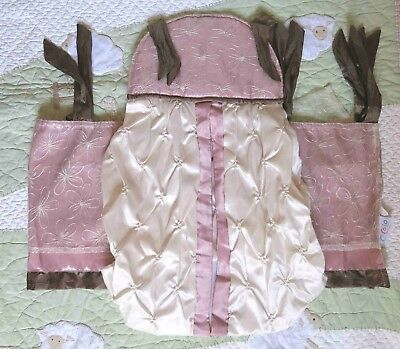 Cocalo Daniella Pink Brown Satin Floral Lace Baby Girl Valance & Diaper Stacker