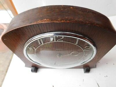 Vintage Smiths 30 Hour Wood Bodied Mantle Clock - Spares Or Repair Free Pp Uk