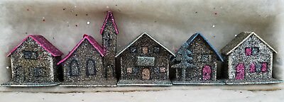 5 Vintage Christmas W. German Miniature Mica Houses/Ornaments