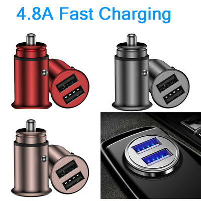 Zinc Alloy Dual USB Car Charger 5V/4.8A Fast Charging Cigarette Lighter 12V 24V