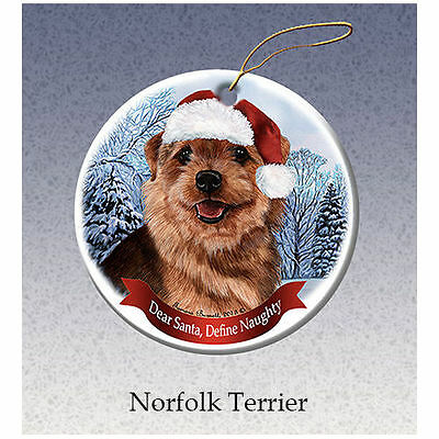 Norfolk Terrier Howliday Porcelain China Dog Christmas Ornament