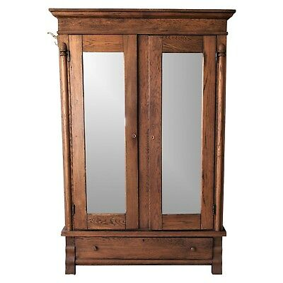 Antique Oak Armoire with Mirrored Doors