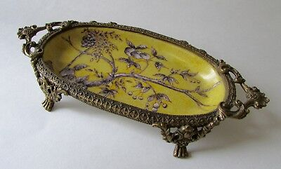 Asian Yellow Floral Ormolu Porcelain Pedestal Soap Dish Trinket Tray