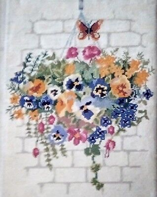 """Hanging Basket Needlepoint Finished, 23"""" X 17 1/2"""", Colorful Flowers, Good Con."""