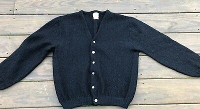 Vintage 60's Black BRENT cardigan sweater wool mohair Men's Large
