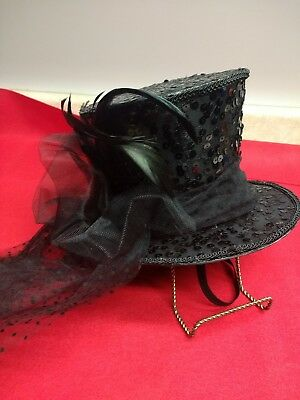 Victorian Style Steampunk Mini Top Hat Fascinator with Black Feather  Bird Sequin e81e8c7ab0e3