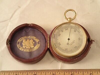 Antique PILLISCHER, LONDON Gentlemen's Gilt Brass Cased Pocket Aneroid Barometer