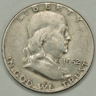 1952-P 50C Franklin Silver Half Dollar As Pictured Free Shipping!!! (010619)