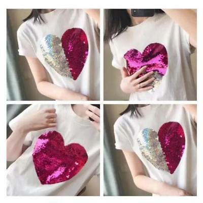 Chic Design Sequins Heart Girls White Basic Tee Womens Round Collar T-shirt @B01