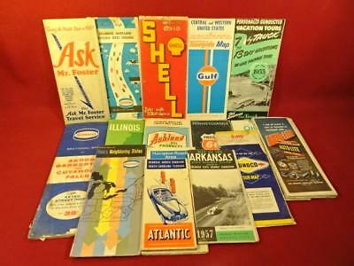 VINTAGE ROAD MAPS LOT 1940s-60s SHELL GULF OHIO MIDWEST ROAD TRIP TRAVEL