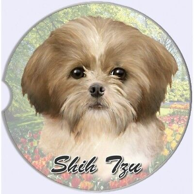 Shih Tzu Tan Puppy Sandstone Absorbent Dog Breed Car Coaster