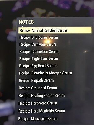 Fallout 76 - !Sale Price!   Full SET of Serum RECIPE'S - PS4!