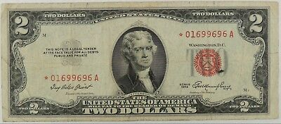 1953 * $2 Two Dollar Red Seal Star * Note FR#1509* FINE+ SN#*01699696A (010619)