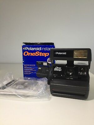 Vintage Black Polaroid Instant OneStep One Step 600 Camera Collectible W Box