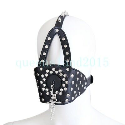 Spiked Head Mask Harness Mouth Gag Plug Fetish Restraint Roleplay Headgear BDSM