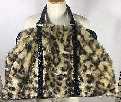 9cb60e6a33ef DONNA SALYERS FABULOUS Furs Leopard Faux Fur Weekend Bag NWOT ...