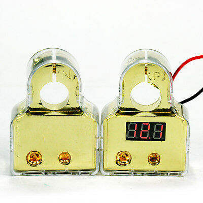 2 X 24K Deluxe Car Audio Gold Plated Led Digital Battery Terminal 0,2,8Gau Z21