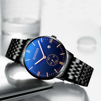 Luxury Men's Quartz Stainless Steel Analog Formal Dress Wrist Watch Waterproof