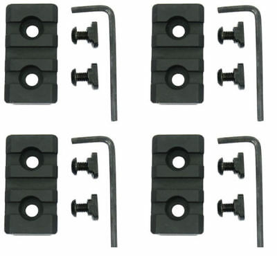 4PCS 3 Slot Picatinny Weaver Rail Section for M-Lok MLok Handguards Mount Black