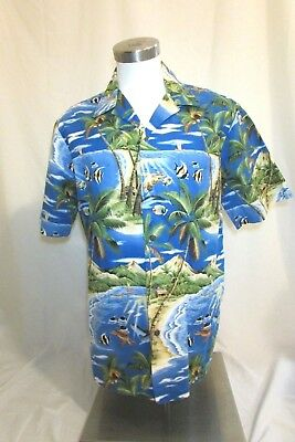 Vintage RJC Hawaiian Shirt Men's Large Short Sleeve Blue Tropical Fish Island