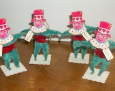 Vintage Looking Valentine Top Hat Boy Ornaments--Free Shipping!!!