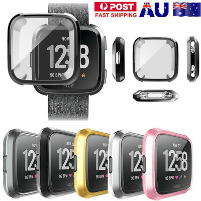 Soft TPU Silicone Shell Frame Full Cover Screen Protector for Fitbit Versa UE