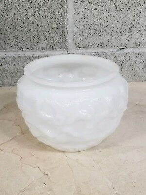 E O Brody Milk Glass Bowl Vase Mid Century Modern 4 by 5 inch Textured, Crinkled