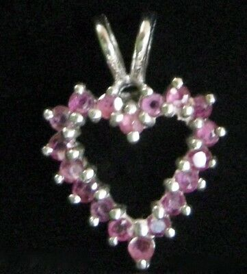 VTG 1970s STERLING SILVER (925) OPEN HEART PENDANT with REAL PINK SAPPHIRES
