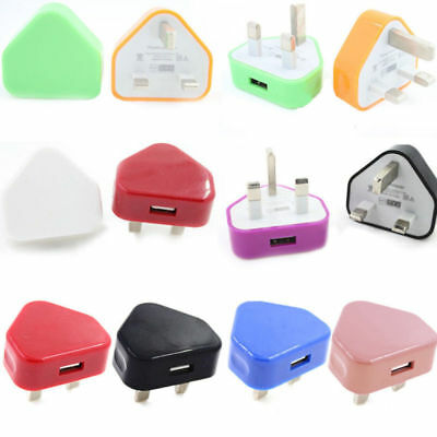 UK Mains Wall Charger 3 Pin Plug 1 USB Port Mini Travel Adaptor For Phone Tablet