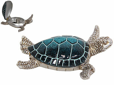 New 15cm Blue and Silver Turtle Trinket Box