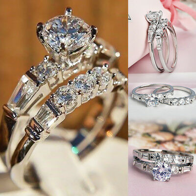 Shiny Women Silver White Sapphire Exquisite Bridal Wedding Engagement Ring Set