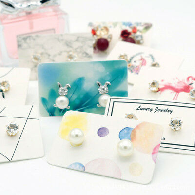 100Pcs Earring pack ear stud card jewelry display hang tag label printing 3x5 IO