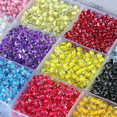 Czech 500x 4mm Hole:2mm Round Colorful Glass Seed Beads DIY Jewelry Making