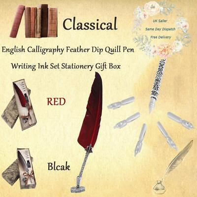 Calligraphy Feather Dip Quill Pen Writing Ink Set Stationery Gift Box with 5Nibs