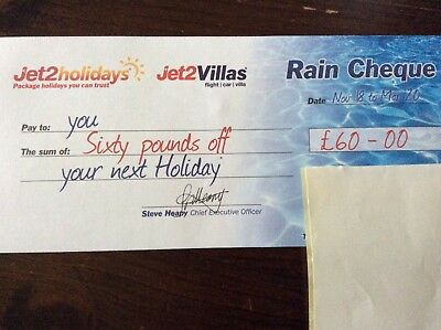 Jet2 £60 Rain Cheque Valid for hols up to 31st March 2020 book by 31/03/2019