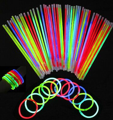"100/1000 8"" Glow Sticks Bracelets Necklaces Neon Colors Party Favors Disco Rave"