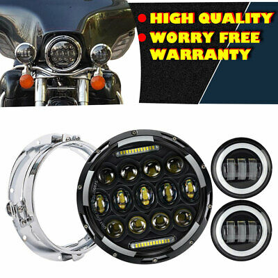 "Harley Davidson 7""Inch 60W LED Headlight w/ 2Pcs 4.5Inch 30W Fog Lights"