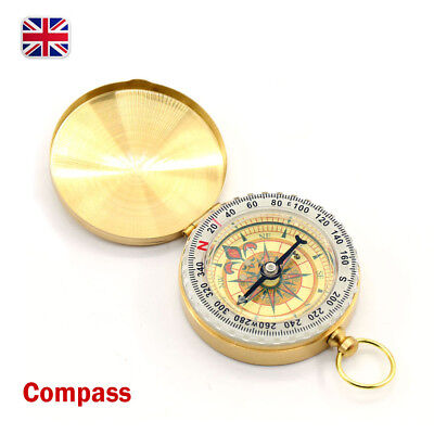Vintage Brass Noctilucent Pocket Compass Hiking Camping Watch Style Retro Design