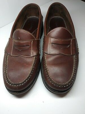 8cc1803a8b4 LL BEAN Mens Brown Leather Penny Loafers Shoes Sz 9 D Slip-On Casual
